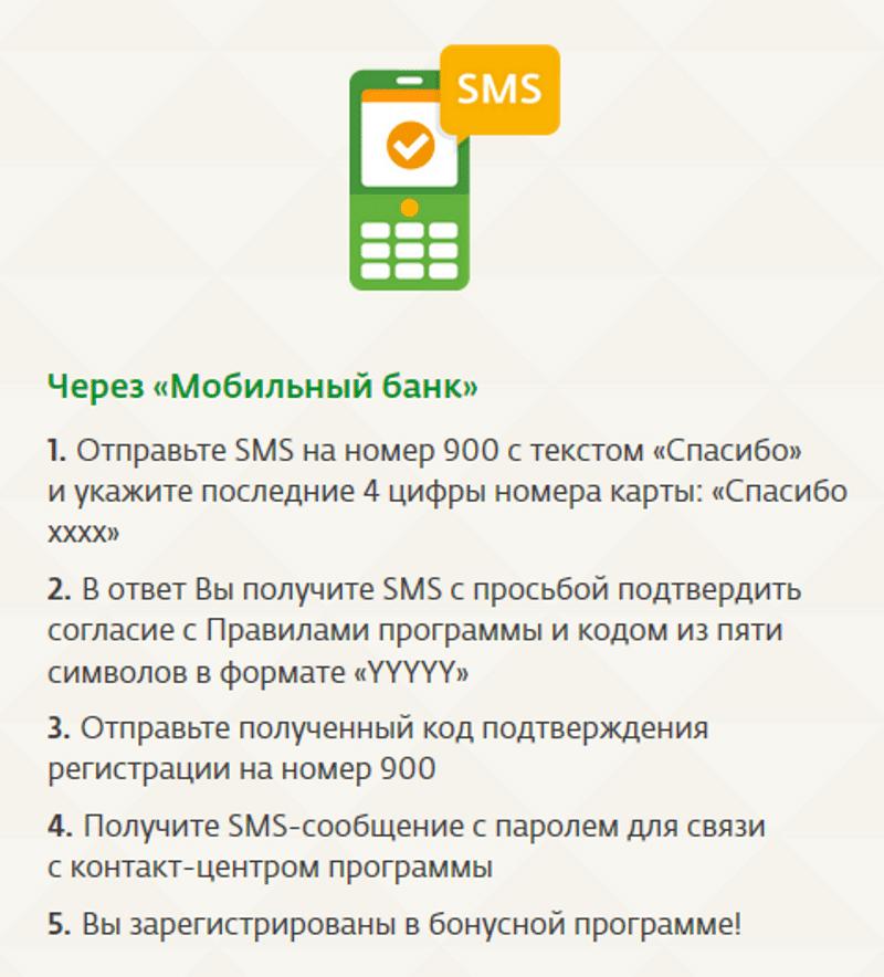 активировать Спасибо от Сбербанка через мобильный банк