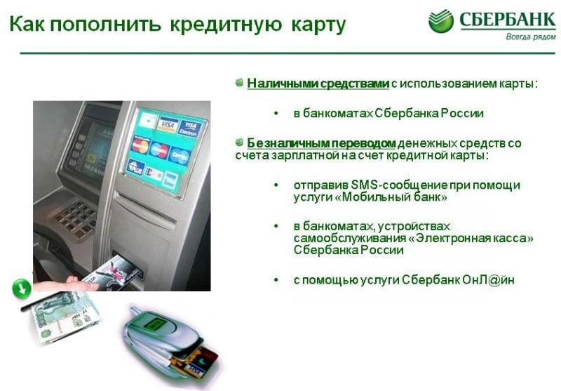 пополнение кредитной карты Сбербанка