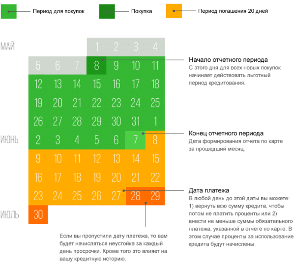 льготный период по кредитной карте Сбербанка пример