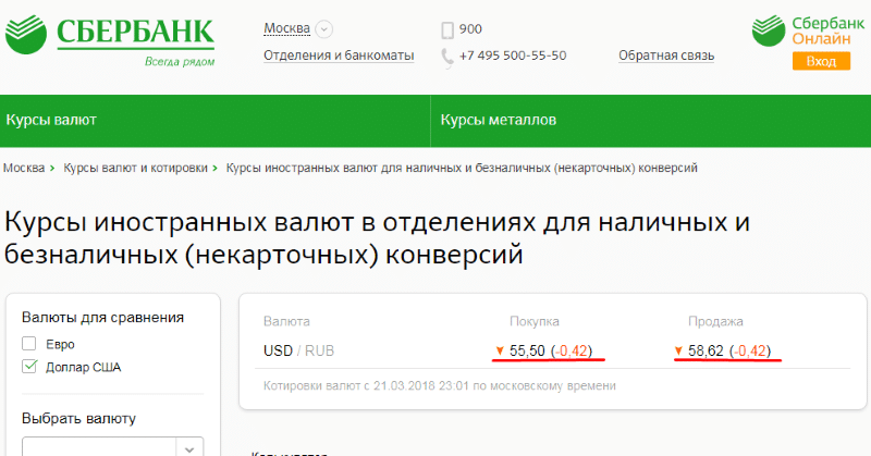 поменять рубли на доллары в Сбербанке