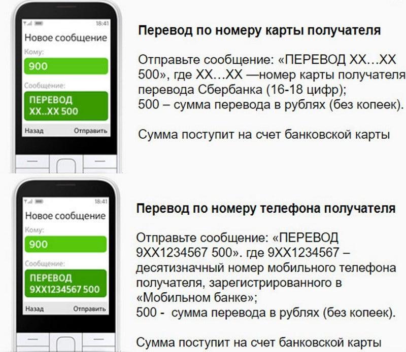 перевод с карту на карту с мобильного банка Сбербанка