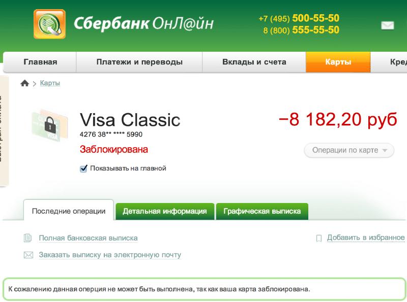 заблокировать кредитную карту Сбербанка если не нужна