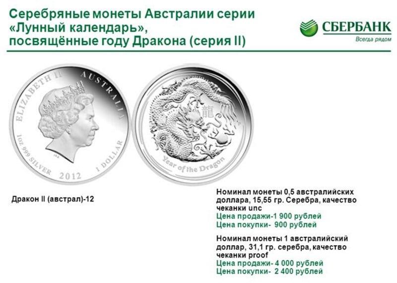 купить серебряные монеты Сбербанка