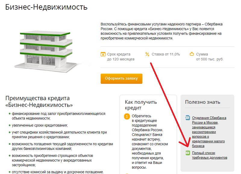 ипотека Сбербанка на коммерческую недвижимость