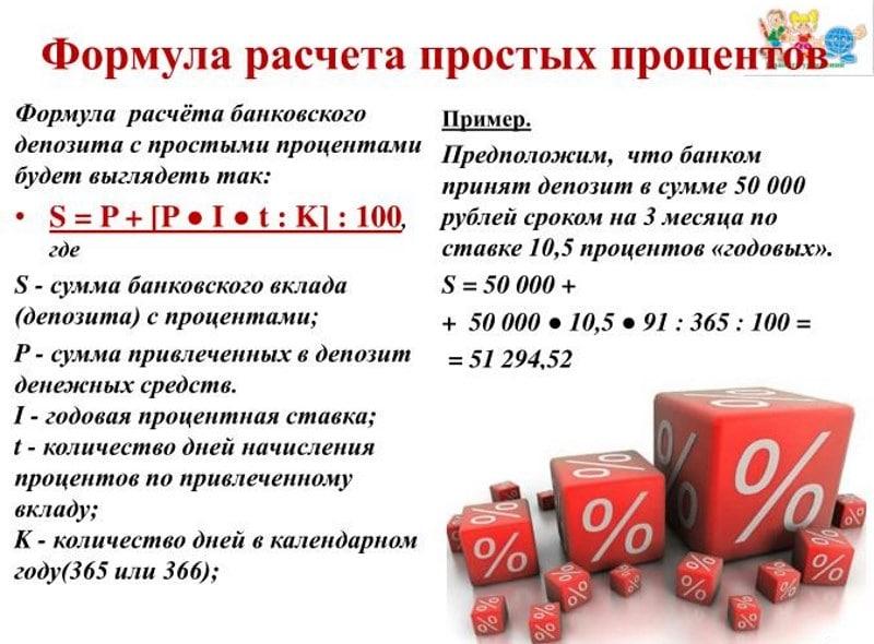 формула расчета простых процентов
