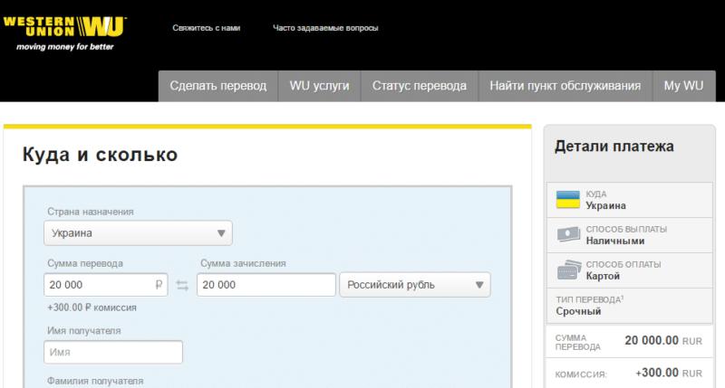переводы из России в Украину в Сбербанке России