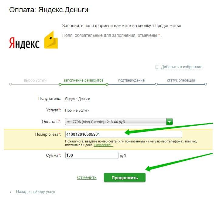 оплатить Яндекс Деньги через Сбербанк Онлайн