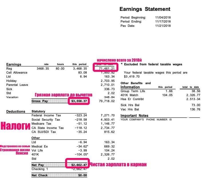 средняя зарплата в Америке в месяц