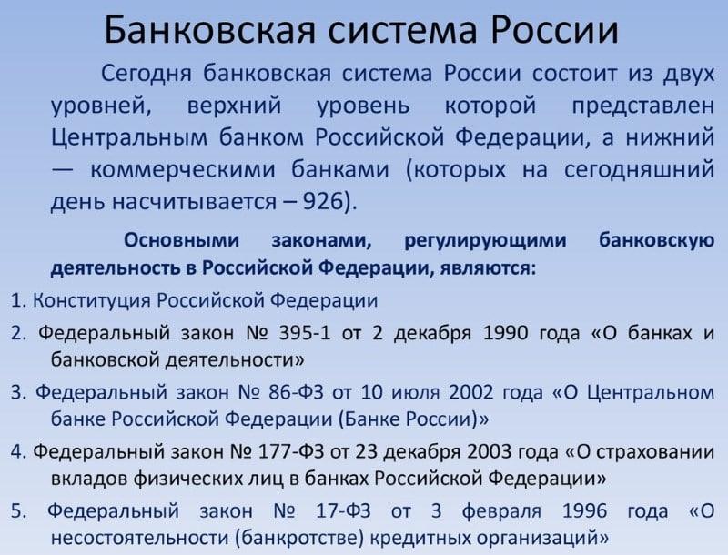 из чего состоит структура банковской российской системы