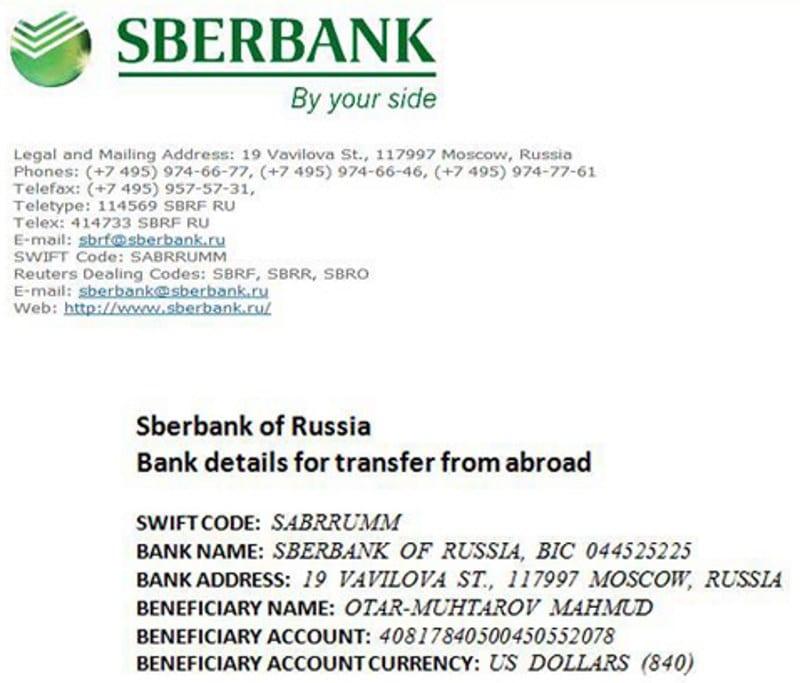 как узнать IBAN Сбербанка России