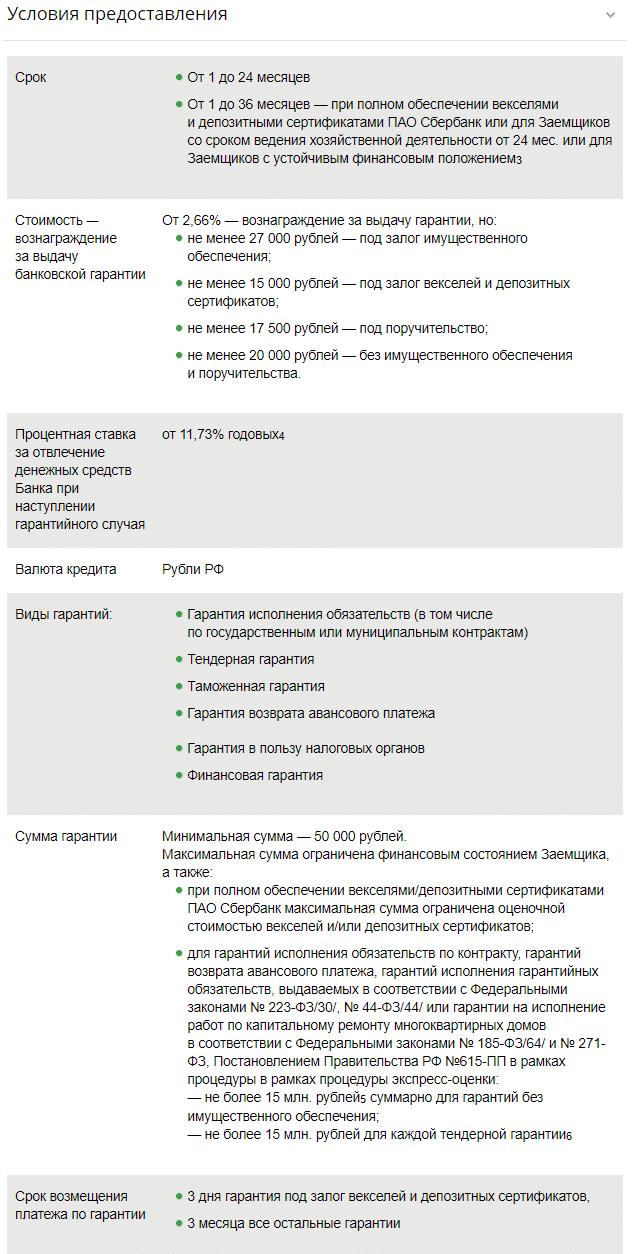 документы для оформления банковской гарантии Сбербанка