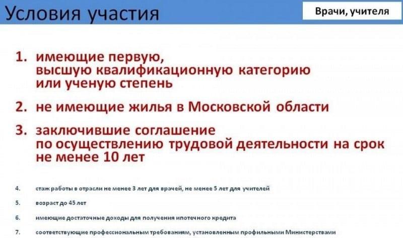 программа социальной ипотеки в Московской области для врачей