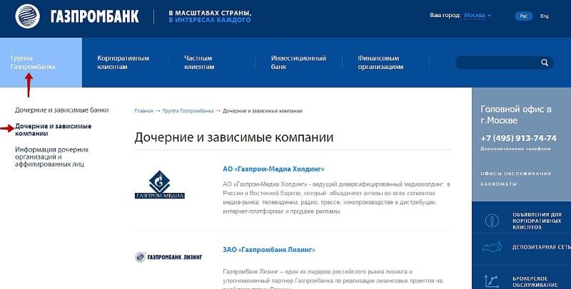 владельцы Газпромбанка