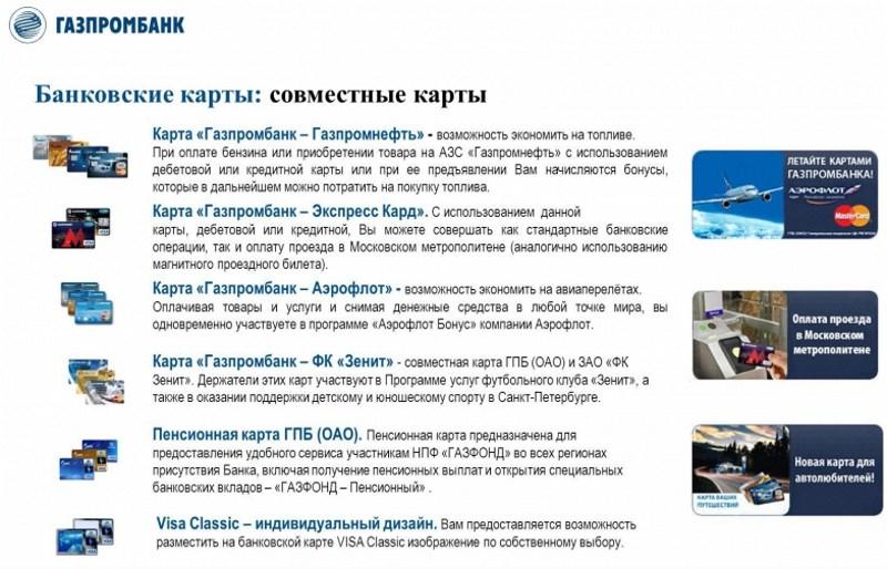банковская карта Газпромбанка