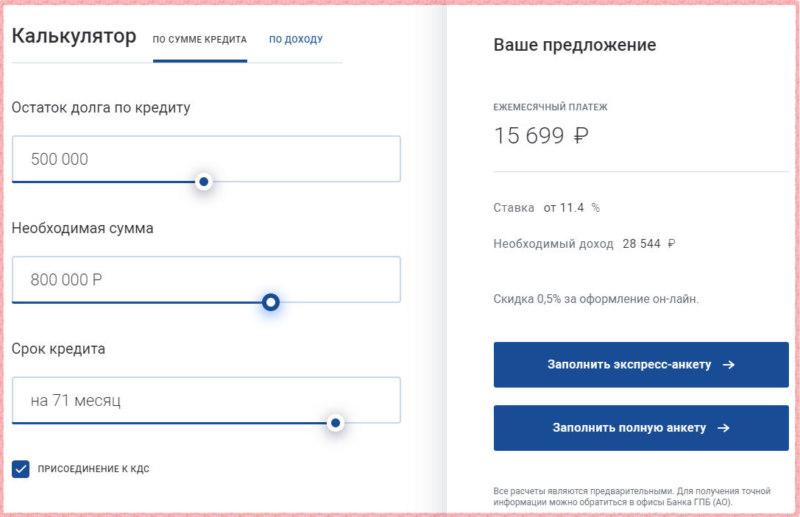 условия рефинансирование кредита Газпромбанк