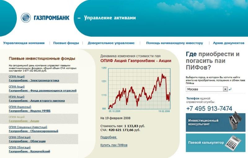 ПИФ Газпромбанка Управление активами