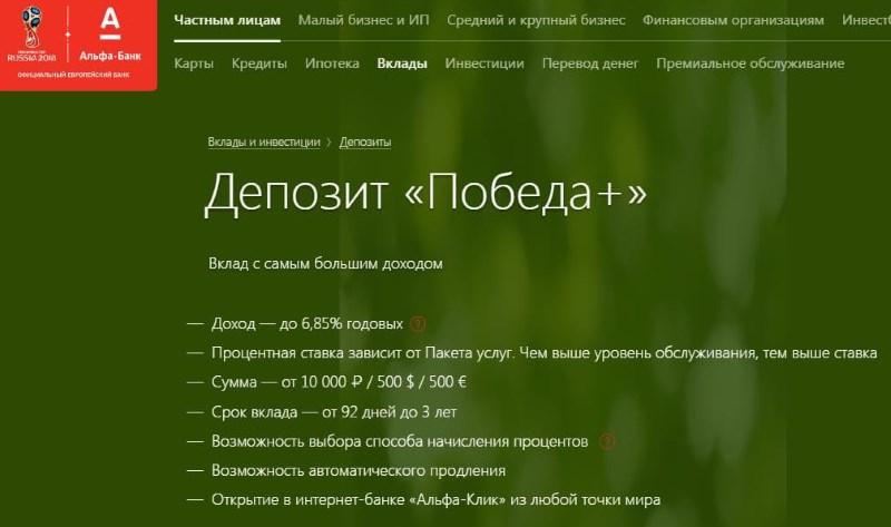депозит Победа Альфа-Банк