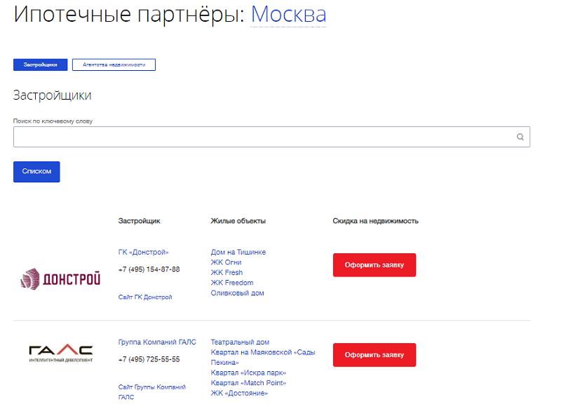 аккредитованные новостройки ВТБ 24