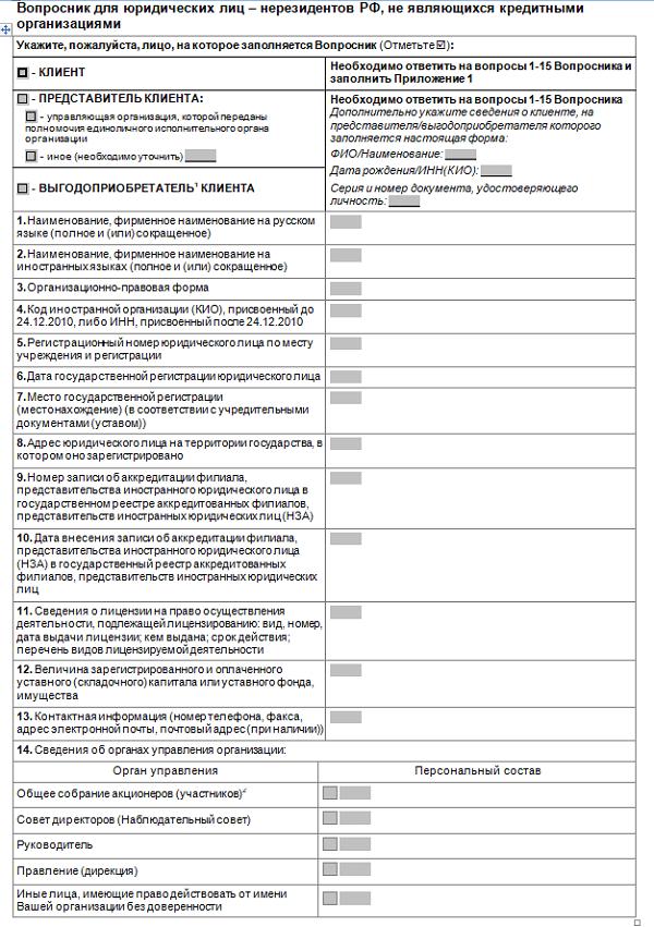 вопросник для индивидуального предпринимателя ВТБ