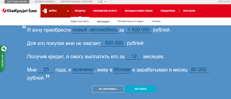 условия автокредита ЮниКредит Банка