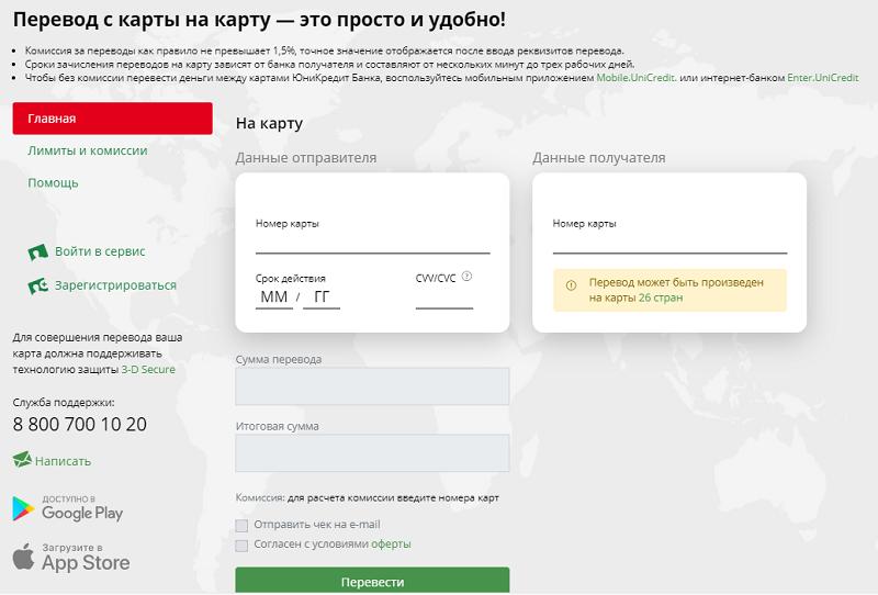 ЮниКредит перевод с карты на карту