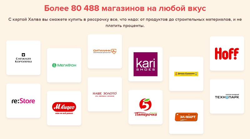 партнеры карты Халва от Совкомбанка список магазинов