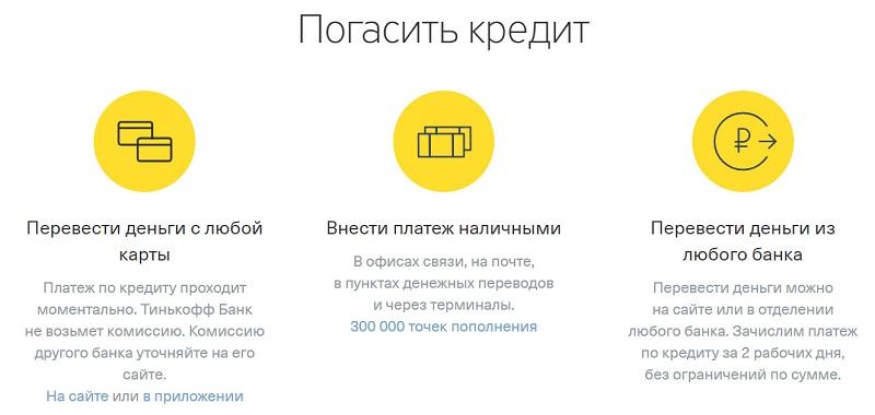 Оплата кредита Тинькофф