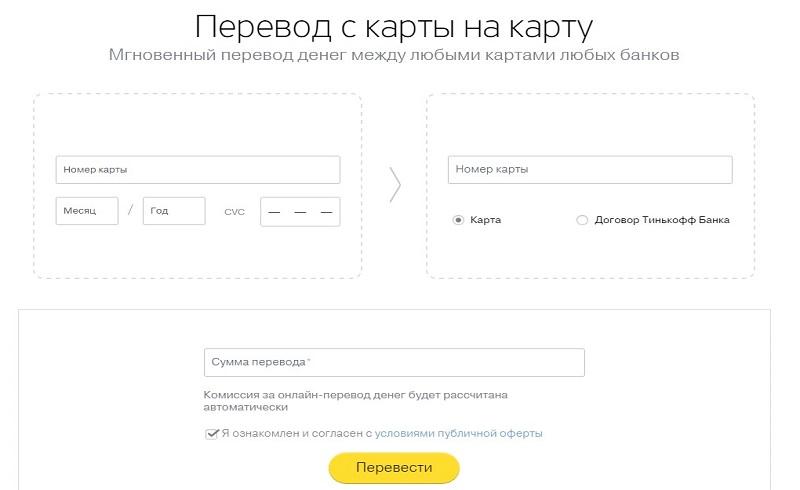 Тинькофф перевод с карты на карту без комиссии